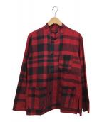 ()の古着「スタンドカラーシャツ」 レッド×ブラック