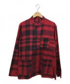 Engineered Garments(エンジニアドガーメンツ)の古着「スタンドカラーシャツ」 レッド×ブラック