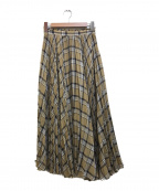 BALLSEY(ボールジィー)の古着「ボイルチェックプリーツアシンメトリースカート」|ベージュ