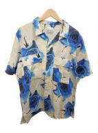 ()の古着「ローズ柄オープンカラーシャツ」|ベージュ×ブルー
