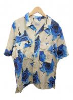 PAUL SMITH(ポールスミス)の古着「ローズ柄オープンカラーシャツ」|ベージュ×ブルー