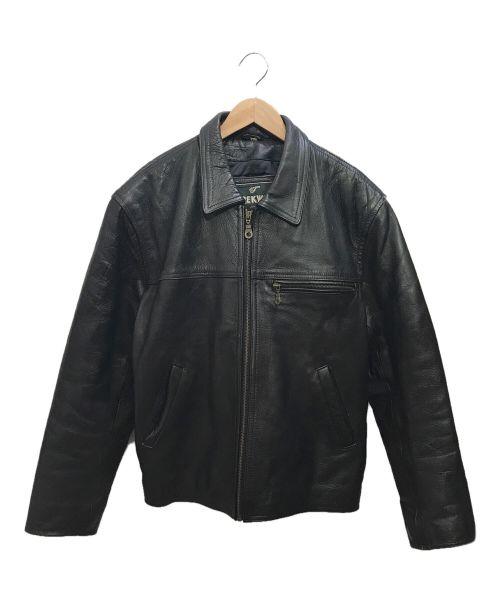 trekway(トレックウェイ)trekway (トレックウェイ) レザージャケット ブラック サイズ:Ⅼの古着・服飾アイテム