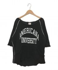 L'appartement×Americana (アパルトモン×アメリカーナ) カットオフ半袖スウェット ブラック サイズ:表記無し