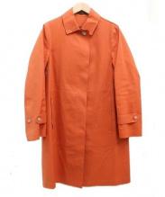 MACKINTOSH(マッキントッシュ)の古着「ゴム引きステンカラーコート」 オレンジ