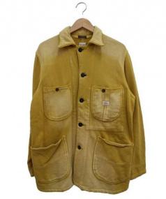 UNUSED(アンユーズド)の古着「ユーズド加工スウェットカバーオール」|イエロー