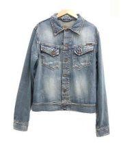 Nudie Jeans(ヌーディー ジーンズ)の古着「ダメージ加工デニムジャケット」|スカイブルー