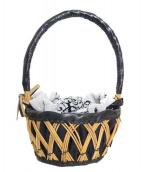 ebagos(エバゴス)の古着「シェニール織り紅籐ミニカゴバッグ」|ナチュラル×ブラック