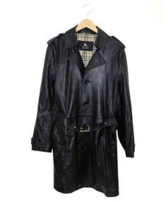 BURBERRY BLACK LABEL(バーバリーブラックレーベル)の古着「ラムレザーコート」|ブラック