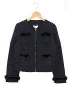 Harrods(ハロッズ)の古着「ミンクトリムキルティングジャケット」|ブラック