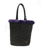 ANNA SUI(アナスイ)の古着「ローズレースパーティーバッグ」|ブラック×パープル