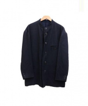 ISSEY MIYAKE(イッセイミヤケ)の古着「リネン混ノーカラージャケット」|ネイビー