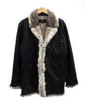 BURBERRY BLACK LABEL(バーバリーブラックレーベル)の古着「チンチラファー付レザーコート」|ブラック