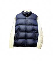 UNDERCOVER(アンダーカバー)の古着「袖レザーダウンブルゾン」|ネイビー×ホワイト