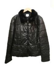 ARMANI COLLEZIONI(アルマーニ コレツィオーニ)の古着「中綿ラムレザージャケット」|ブラック