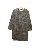 ADORE(アドーア)の古着「ノーカラーツイードコート」|ブラック×アイボリー