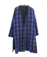 SASQUATCHfabrix.(サスクアッチファブリック)の古着「SASHIKO BLOCK CHECK LIGHT COAT」|ブルー×ブラック