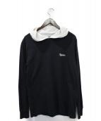 ()の古着「Contrast Hooded L/S Top」|ブラック