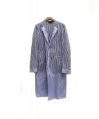COMME des GARCONS HOMME PLUS(コムデギャルソンオムプリュス)の古着「ストライプシャツコート」|ブルー×ホワイト