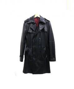 COMME CA MEN(コムサメン)の古着「レザートレンチコート」|ブラック