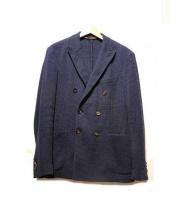 eleventy(イレブンティ)の古着「ハウンドトゥースダブルジャケット」|ブルー