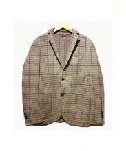 L.B.M.1911(エルビーエム1911)の古着「スウェット2Bテーラードジャケット」 パープル×ベージュ