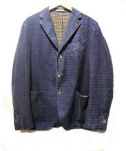 BOGLIOLI(ボリオリ)の古着「ギンガムチェックデニム地テーラードジャケット」|ブルー