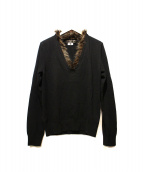 COMME des GARCONS HOMME PLUS(コムデギャルソンオムプリュス)の古着「ファー付ニット」|ブラック