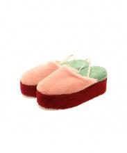 FENDI(フェンディ)の古着「ファーバックストラップ厚底サンダル」|ピンク×グリーン