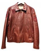 AVIREX(アヴィレックス)の古着「ゴートレザーパッチドトラッカージャケット」