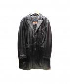 BALMAIN(バルマン)の古着「レザーチェスターコート」|ブラック