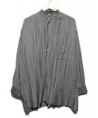 ISSEY MIYAKE(イッセイミヤケ)の古着「シワ加工スタンドカラーシャツ」|グレー