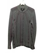 ISSEY MIYAKE(イッセイミヤケ)の古着「ジップカーディガンジャケット」|グレー×ブラウン