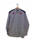 JieDa(ジエダ)の古着「刺繍ストライプシャツ」 ブルー