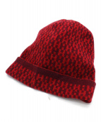 HERMES(エルメス)の古着「Hロゴカシミヤニット帽」|レッド
