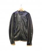 Shama(シャマ)の古着「カウレザーシングルライダースジャケット」|ブラック