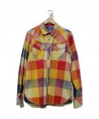 TMT(ティーエムティー)の古着「インディゴビッグチェックシャツ」 イエロー