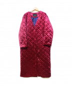 ROSE BUD(ローズバッド)の古着「ベロアキルティングコート」 ピンク