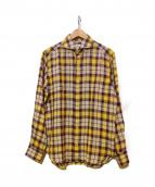 giannetto(ジャンネット)の古着「リネンチェックシャツ」|イエロー×パープル