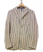 L.B.M.1911(エルビーエム1911)の古着「イレギュラーストライプテーラードジャケット」|ホワイト×ブルー
