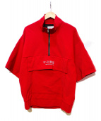 SHAREEF(シャリーフ)の古着「リップルハーフジップ半袖ビッグTシャツ」 レッド