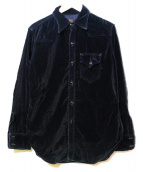 POST OALLS(ポストオーバーオールズ)の古着「ベロアシャツ」|ブラック