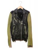DOMA(ドマ)の古着「レザージャケット」|ブラック×グリーン