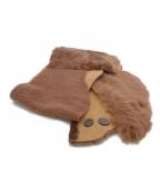 GUSHLOW&COLE(ガシュロウ&コール)の古着「シープスキンレザーマフラー」|ブラウン