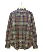 giannetto(ジャンネット)の古着「リネンシャツ」|グリーン×レッド