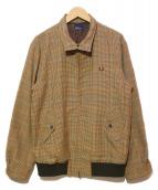 FRED PERRY(フレッドペリ)の古着「ガンンクラブチェックハリントンジャケット」|ブラウン