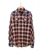 L.G.B(ルグランブルー)の古着「デザインシャツ」 レッド×ベージュ