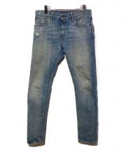 RRL(ダブルアールエル)の古着「ダメージ加工デニムパンツ」|ブルー