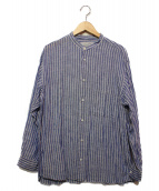 UNIVERSAL PRODUCTS.(ユニバーサルプロダクツ)の古着「バンドカラーシャツ」|ホワイト×ネイビー
