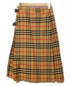 Burberrys(バーバリーズ)の古着「90'Sノバチェックチェックラップスカート」|ベージュ