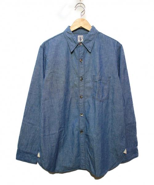 CORONA(コロナ)CORONA (コロナ) シャンブレーシャツ スカイブルー サイズ:Lの古着・服飾アイテム